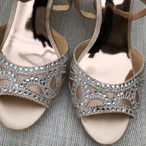 Badgley Mischka Shoes - BADGLEY MISCHKA Crystal Embellished Wedge Sandals